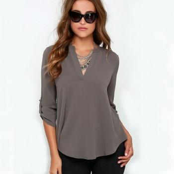 Casual V Neck Long Sleeves Solid Top for Women