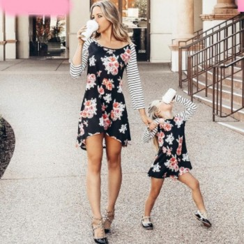 Trendy Floral Striped Long-sleeve Mommy and Me Dress