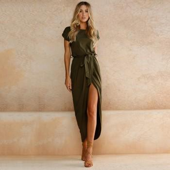 Trendy Round Collar Short Sleeves Slit Maxi Dress with Belt