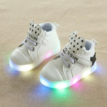 Stylish Star Decor Velcro LED Shoes for Toddler and Kid