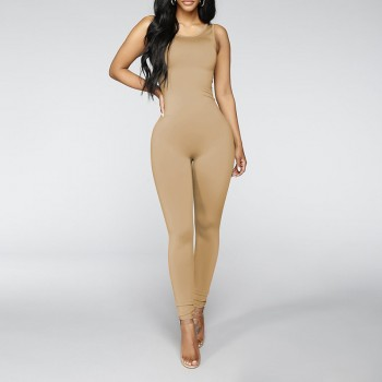 Fitted Solid Sleeveless Jumpsuit