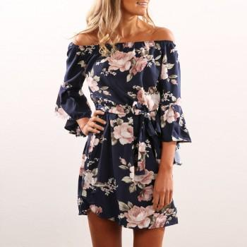 Pretty Floral Belted Flare-sleeve Dress