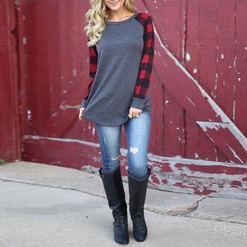 Trendy Plaid Long-sleeve Top