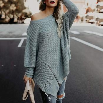 Trendy Zip-up Bat Sleeves Knitwear