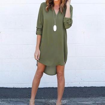 Trendy V Neck Loose Mini Dress