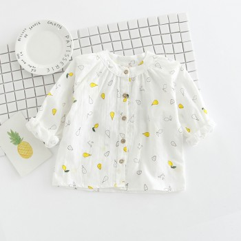Comfy Pear Pattern Long Sleeves Shirt for Toddler Girl