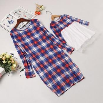 Fashionable Plaid Long Sleeve Dress For Mom And Me