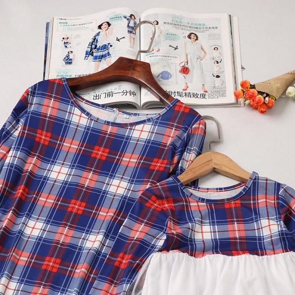 Fashionable Plaid Long-sleeve Dress for Mom and Me