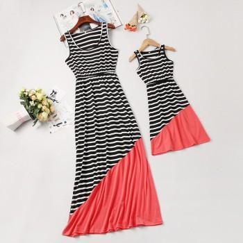 Stylish Striped Color-blocking Sleeveless Mommy and Me Maxi Dress in Black