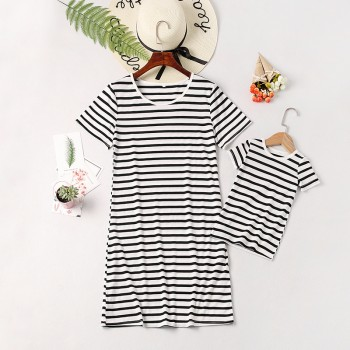 Mom and Me Trendy Black and White Striped Matching Dress