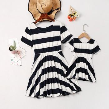 Mom and Me Latest Ruffled Striped Short-sleeve Matching Dress