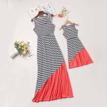 Chic Striped Color Block Sleeveless Mommy and Me Maxi Dress