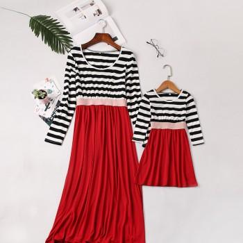 Pretty Color Blocked Long-sleeve Dress for Mommy and Me