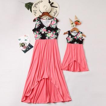 Beautiful Floral V Neck Sleeveless Mommy and Me Dress