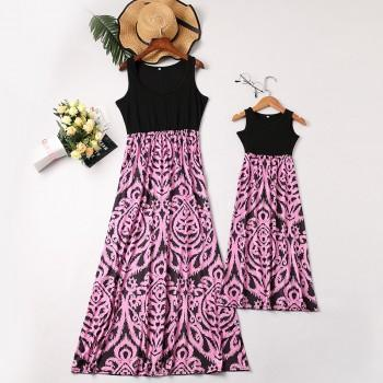 Fashionable Printed Sleeveless Mommy and Me Maxi Dress