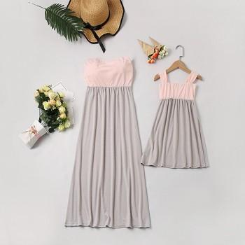 Beautiful Color Blocked Sleeveless Mommy and Me Dress