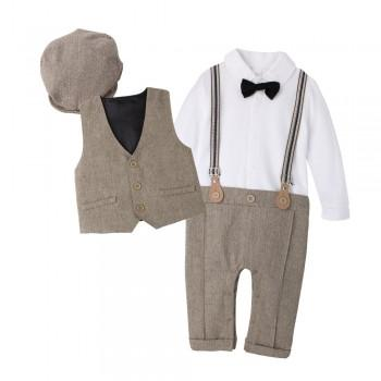 3-piece Handsome Faux-two Bow Tie Long-sleeve Jumpsuit, Vest and Hat Set for Baby Boy