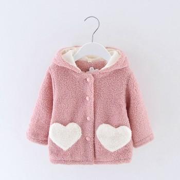 Adorable Fleece-lining Long-sleeve Hooded Coat for Baby
