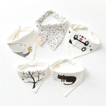5-pack Adorable Cotton Baby Bibs