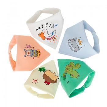 5-pack Stylish Cartoon Print Bibs Set for Baby