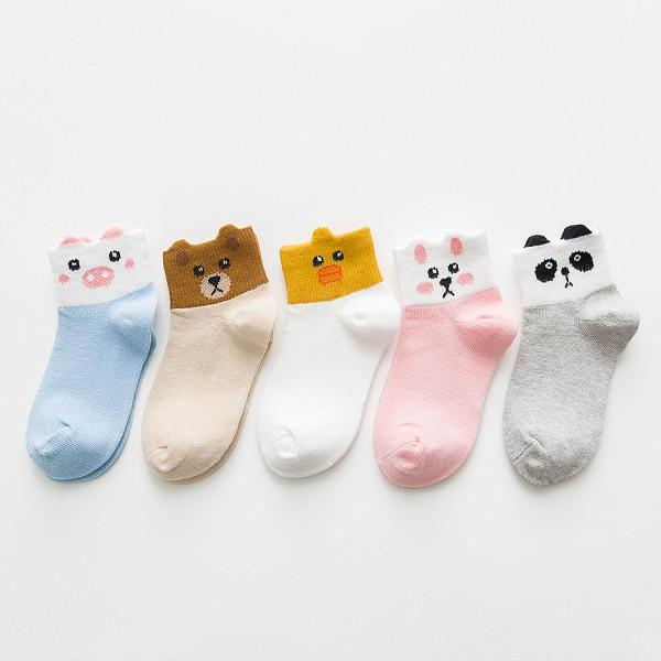 5-pack Lovely Color-blocking Animal Design Socks for Toddler Girl and Girl