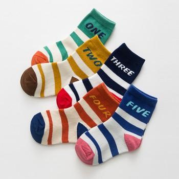 5-pair Funny Number Striped Socks for Baby Boy and Boy