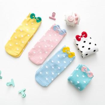 5-pair Polka Dots Bowknot Socks for Baby Girl and Girl
