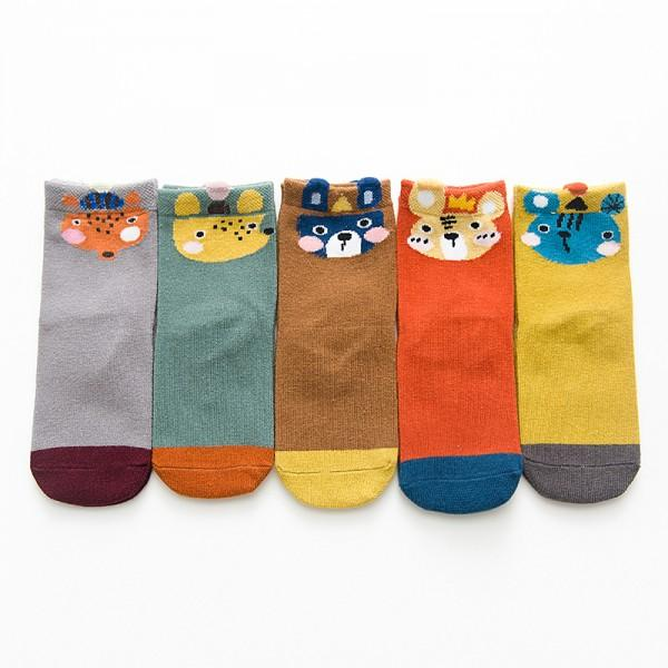 5-pair Cute Fox Tiger Design Socks for Baby
