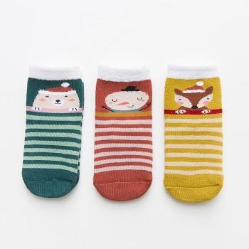 3-pair Stylish Stripe Animal and Polka Dots Print Terry Socks