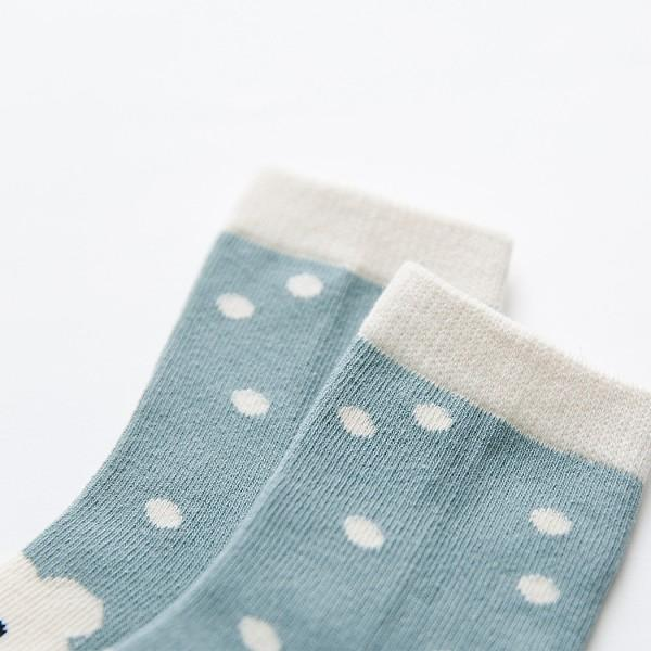 5-pairs Cartoon Pattern Stripe and Polka Dots Design Socks