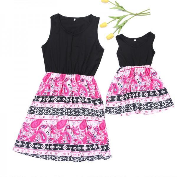 Mom and Me Sweet Stripes Sleeveless Matching Dress