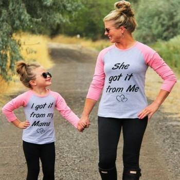 Trendy SHE GOT IT FROM ME Long-sleeve Tee for Mommy and Me