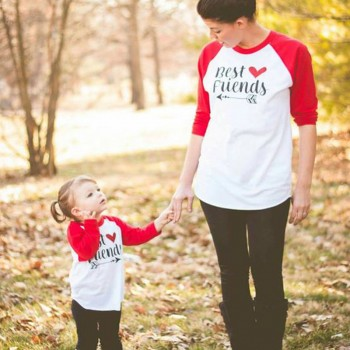 Chic BEST FRIENDS Printed Matching Top for Mommy and Me