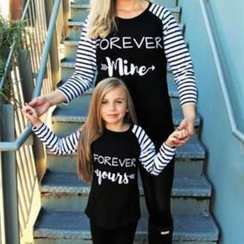 Pretty Letter Printed Long-sleeve Mommy and Me Matching Tee