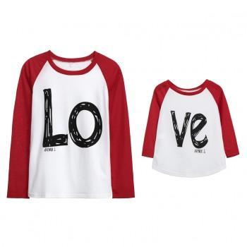 Stylish LOVE Print Long-sleeve Matching Top