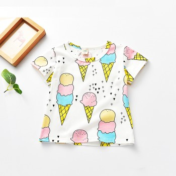 Trendy Ice Cream Print Short Sleeves Tee for Toddler Girls