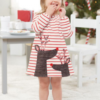 Cute Striped Appliqued Elk Long-sleeve Dress for Baby and Toddler Girl