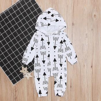 Cool Allover Arrow Hooded Long-sleeve Jumpsuit for Baby