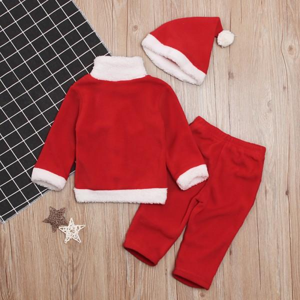 3-piece Stylish Christmas Design Coat, Pants and Hat Set for Baby