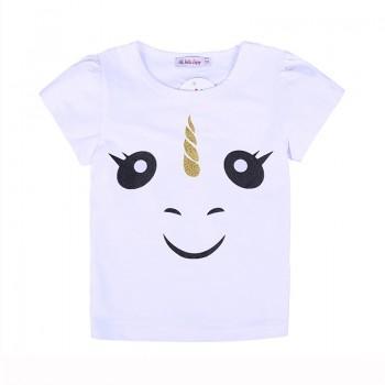 Cute Unicorn Print Short-sleeve T-shirt in White for Toddler Girl and Girl