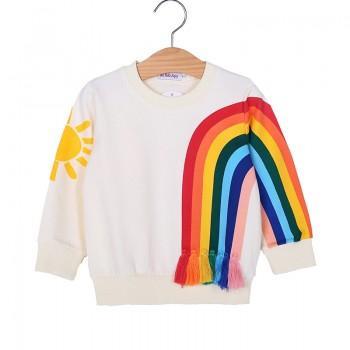 Stylish Rainbow and Sun Print Long-sleeve T-shirt for Baby Girl