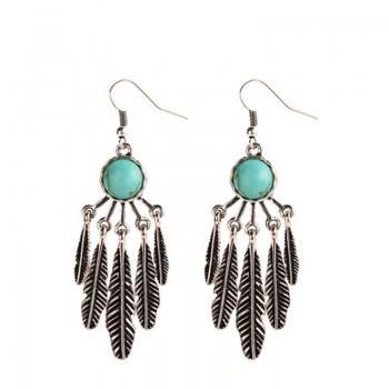 Alloy Feather Drop Earrings