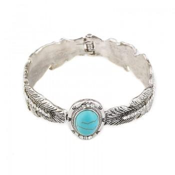 Leaves Shaped Oval Turquoise Bracelet