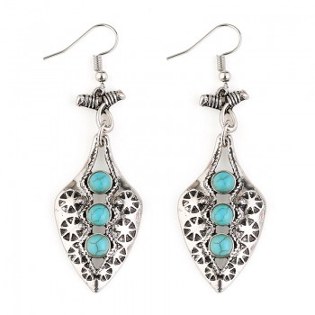 Trendy Studded Turquoise Cross Pattern Earrings