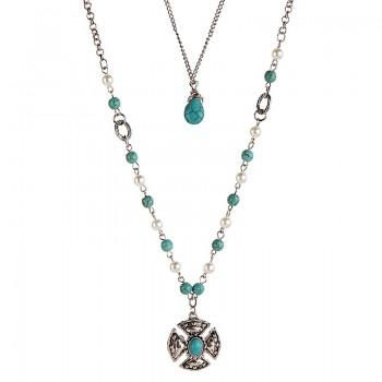 Stylish Layered Pearl Turquoise Necklace