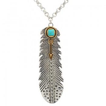 Fashionable Turquoise Feather Pendant Necklace