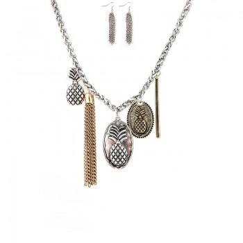 Alloy Tassel Pineapple Pendant Necklace