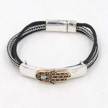 Vintage Hand Pendant Knitted Bracelet