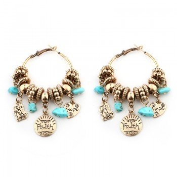 Trendy Carved Letter Turquoise Earrings