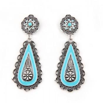 Trendy Carved Turquoise Earrings